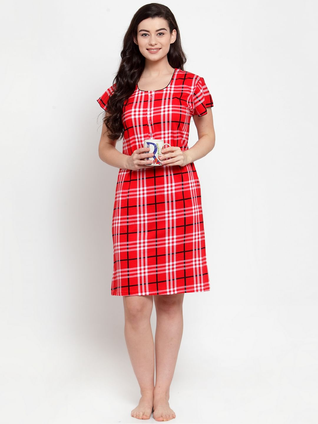 Secret Wish Women's Red Cotton Checked Short Nightdress (Free Size)
