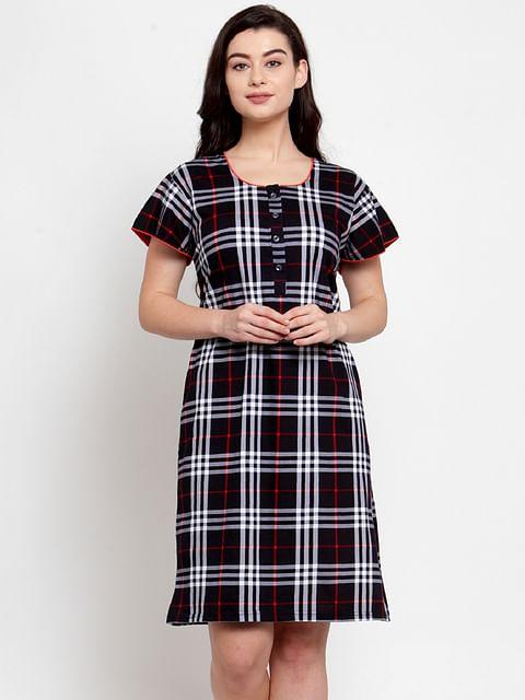 Secret Wish Women's Black Cotton Checked Short Nightdress (Free Size)