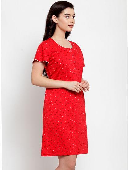 Secret Wish Women's Red Cotton Printed Short Nightdress (Free Size)