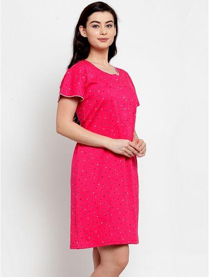 Secret Wish Women's Pink Cotton Printed Short Nightdress (Free Size)