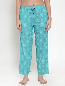 Secret Wish Women's Sky Blue Cotton Printed Pyjama