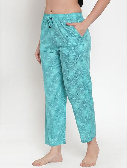 Secret Wish Women's Sky Blue Cotton Printed Pyjama