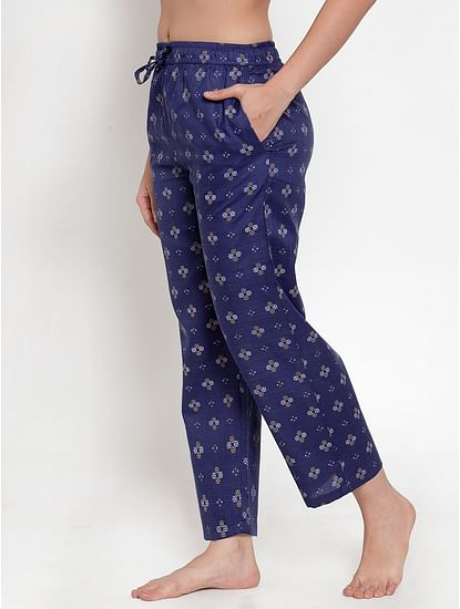 Secret Wish Women's Navy Blue Cotton Printed Pyjama