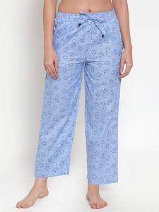 Secret Wish Women's Light Blue Cotton Printed Pyjama