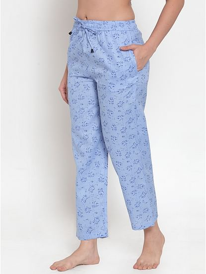 Secret Wish Women's Light Blue Cotton Printed Pyjama