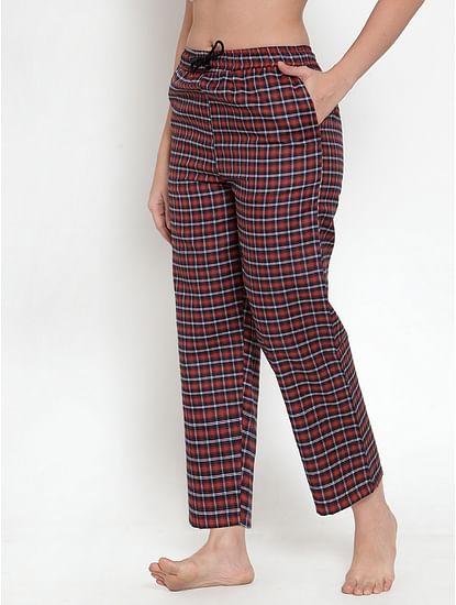 Secret Wish Women's Maroon Cotton Checked Pyjama