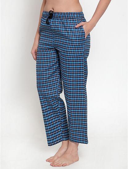 Secret Wish Women's Blue Cotton Checked Pyjama