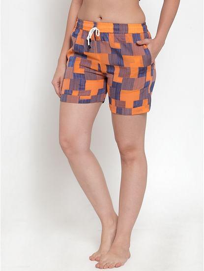 Secret Wish Women's Orange Cotton Checked Shorts