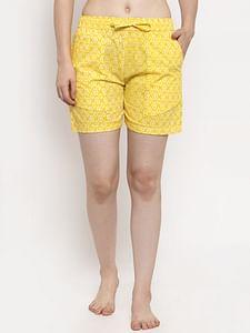 Secret Wish Women's Yellow Cotton Printed Shorts
