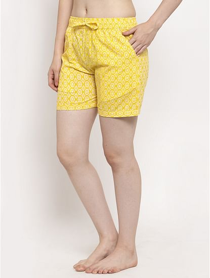 Secret Wish Women's Yellow Cotton Printed Shorts