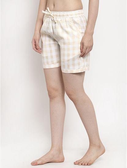 Secret Wish Women's White Cotton Checked Shorts