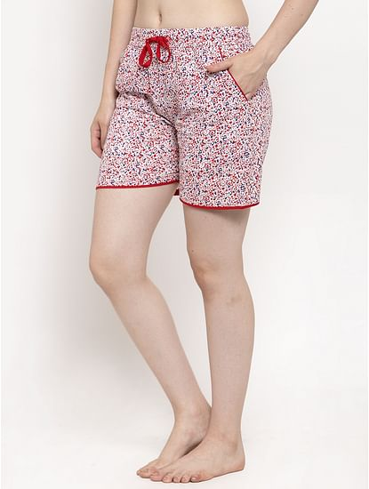 Secret Wish Women's Red Cotton Printed Shorts