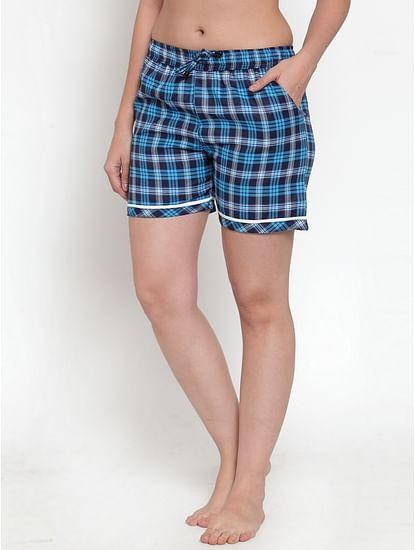 Secret Wish Women's Blue Cotton Checked Shorts