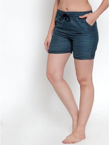 Secret Wish Women's Navy Blue Cotton Checked Shorts