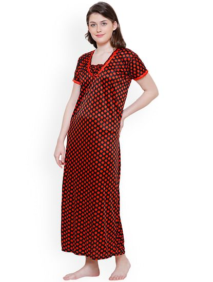 Secret Wish Women Black & Red Printed Nightdress