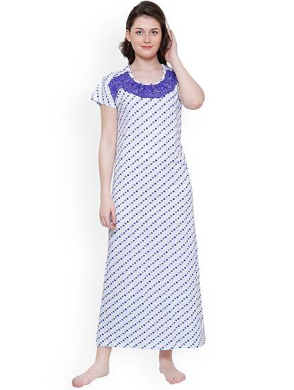 Secret Wish Women's Blue Hosiery Printed Nightdress