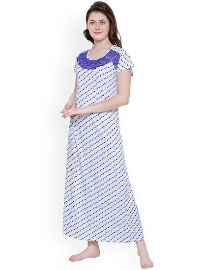 Secret Wish Women Blue Printed Nightdress