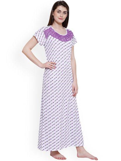 Secret Wish Women's White-Purple Hosiery Printed Nightdress