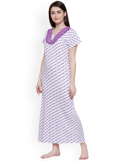 Secret Wish Women White & Purple Printed Nightdress