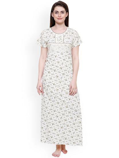 Secret Wish Women's Off-White-Olive Green Hosiery Printed Nightdress