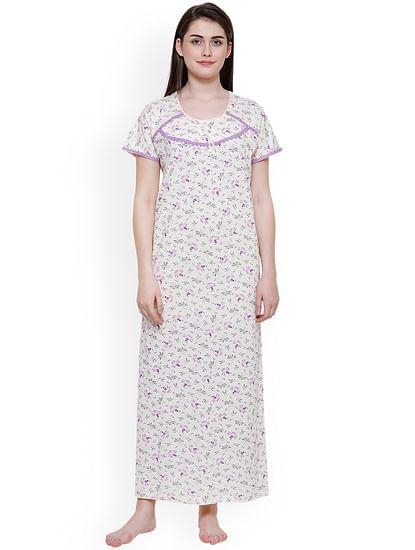 Secret Wish Women's Off-White-Purple Hosiery Printed Nightdress