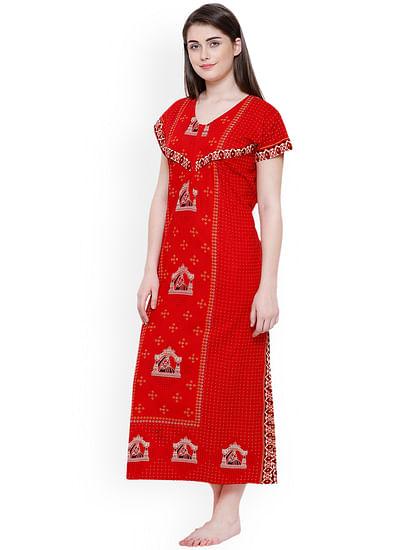 Secret Wish Women's Red Cotton Printed Nightdress