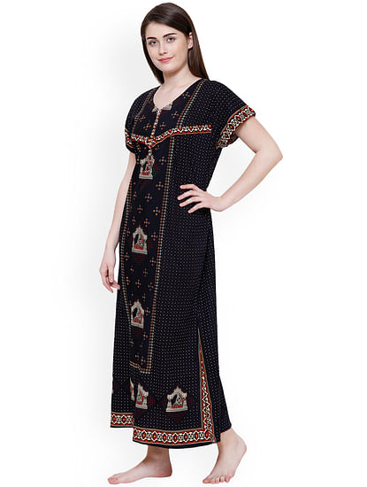Secret Wish Women's Navy Blue & Beige Printed Maternity Nightdress