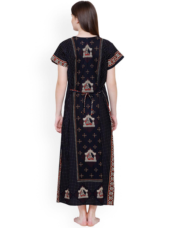 Secret Wish Women's Navy Blue & Beige Printed Maternity Nightdress