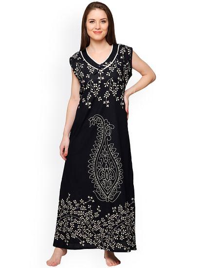 Secret Wish Women's Black Cotton Printed Maxi Nightdress