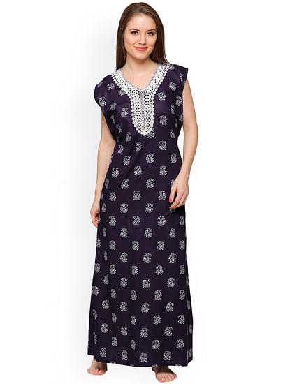Secret Wish Women's Navy Paisley Cotton Print Maxi Nightdress