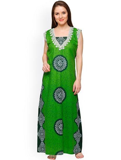 Secret Wish Women's Green Cotton Printed Maxi Nightdress