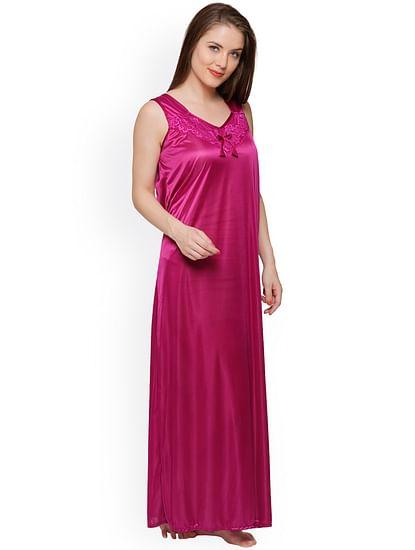 Secret Wish Women's Magenta Satin Maxi Nightdress