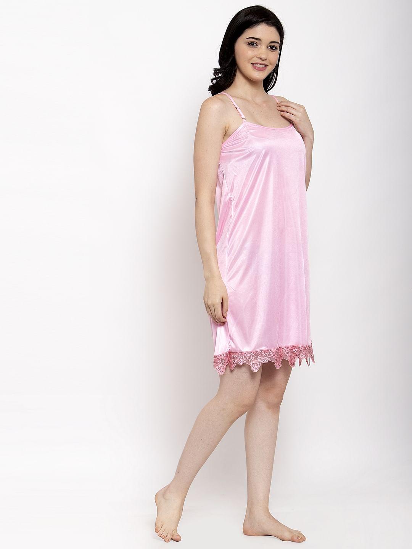 Secret Wish Women's Light Pink Solid Satin Babydoll
