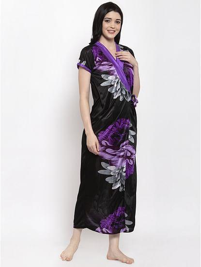 Secret Wish Women's Purple Printed Satin Robe