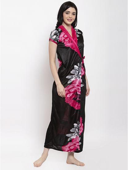 Secret Wish Women's Red Printed Satin Robe