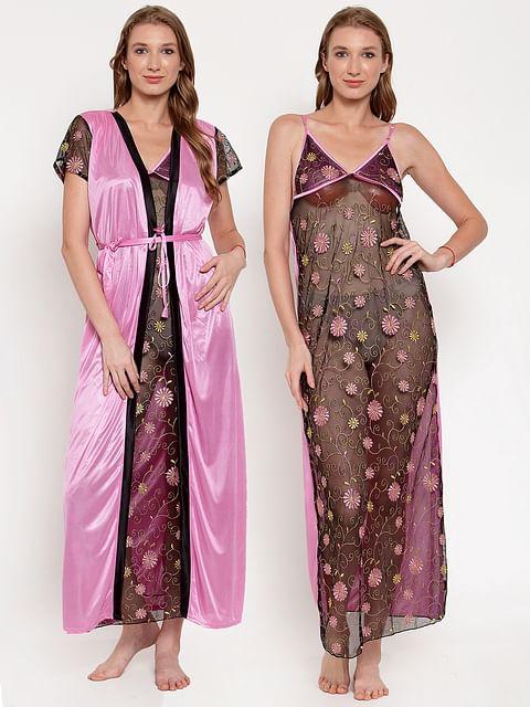 Secret Wish Women's Pink Printed Satin Nighty with Robe