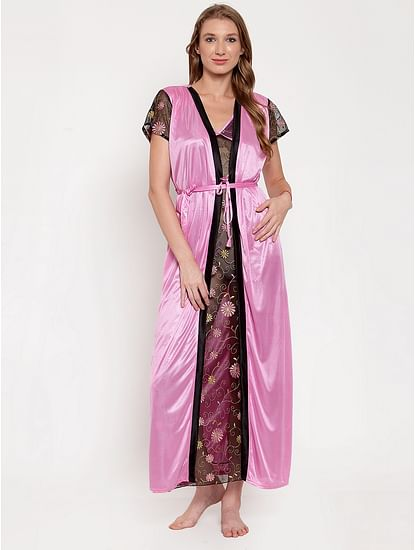 Secret Wish Women's Pink Printed Satin Nighty with Robe