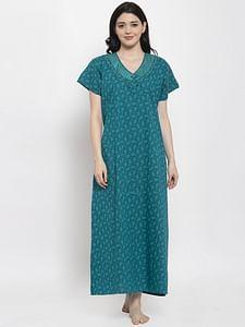 Secret Wish Women's Turquoise Blue Printed Cotton Nighty