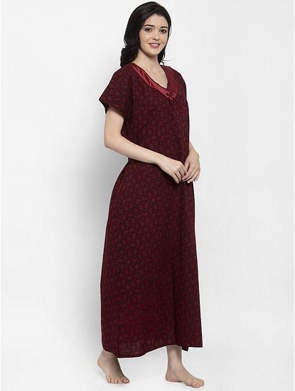 Secret Wish Women's Burgundy Printed Cotton Nighty