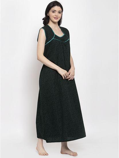 Secret Wish Women's Dark Green Printed Cotton Nighty