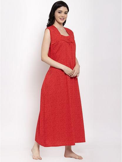 Secret Wish Women's Red Printed Cotton Nighty