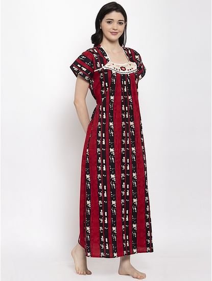 Secret Wish Women's Red Printed Cotton Nighty