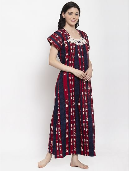 Secret Wish Women's Maroon Printed Cotton Nighty