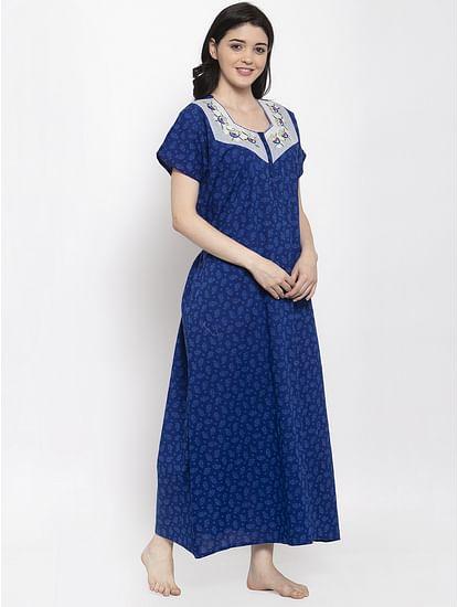 Secret Wish Women's Blue Printed Cotton Nighty