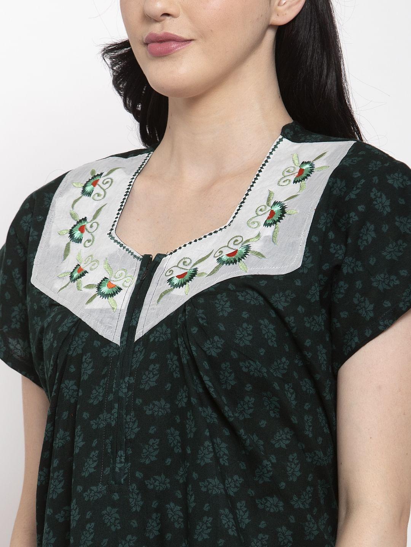 Secret Wish Women's Olive Green Printed Cotton Nighty