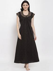 Secret Wish Women's Black Printed Cotton Nighty