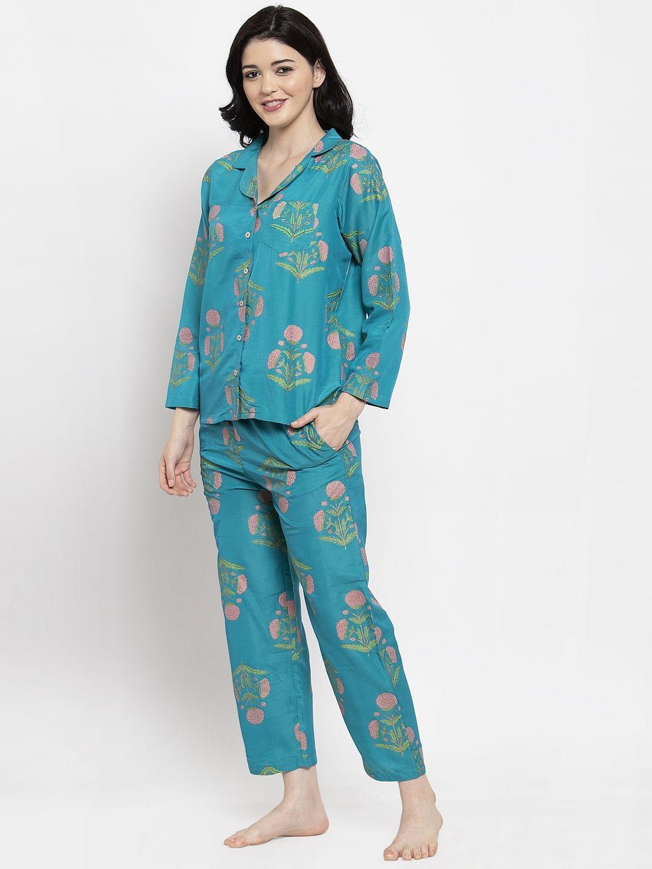 Secret Wish Women's Turquoise Blue Cotton Printed Nightsuit