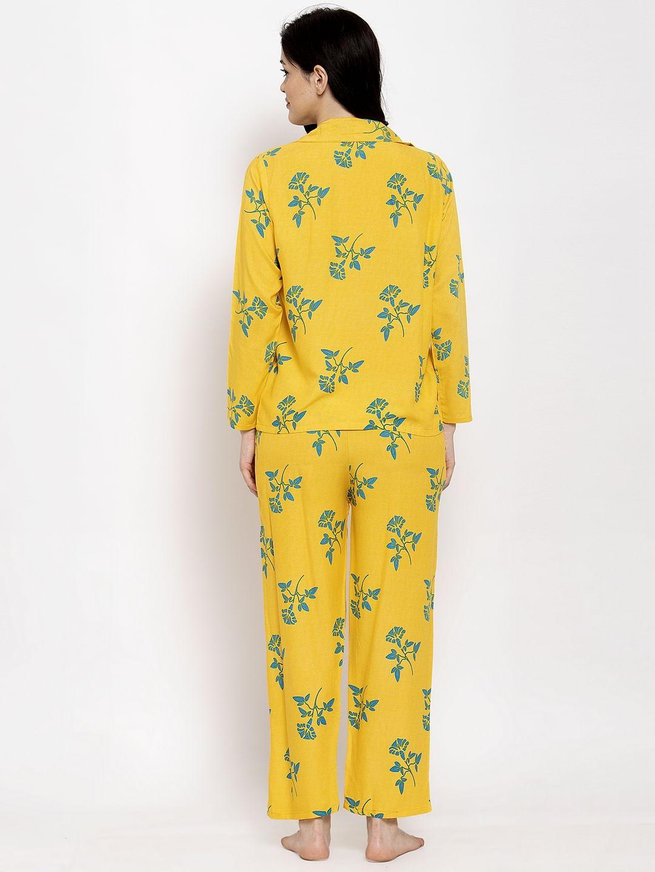 Secret Wish Women's Yellow Cotton Printed Nightsuit