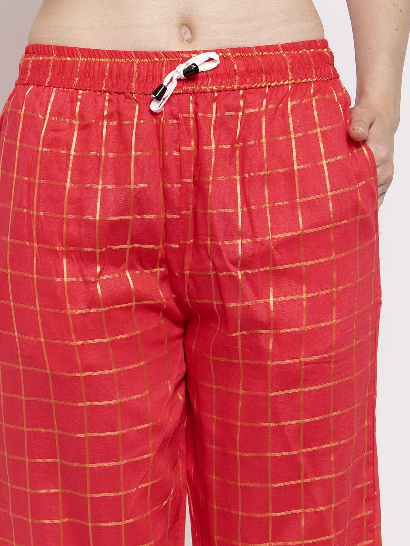 Secret Wish Women's Red Cotton Checked Nightsuit