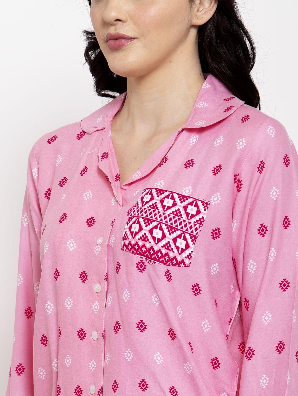Secret Wish Women's Pink Cotton Printed Nightsuit